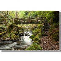 wooden footbridge over Birker Beck in Eskdale autumn