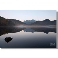 harrison stickle and side pike reflected in calm dawn blea tarn