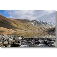 snowy High Street ridge reflected in Hayeswater