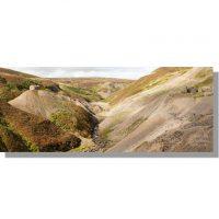 Gunnerside Beck flows through Bunton Hush and Bunton Mine summer panorama