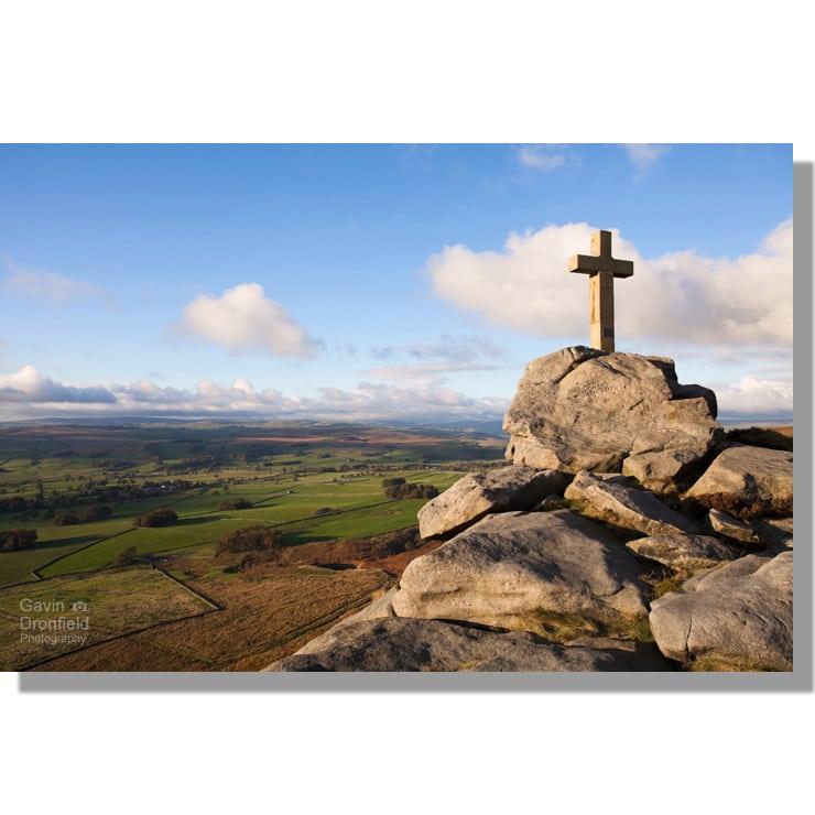 Rylstone Cross overlooking fields of Cravendale in autumn