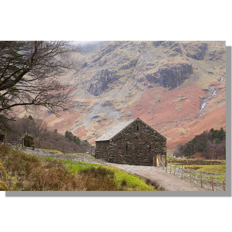 Grisedale Barn at Elmhow under Eagle Crag in winter