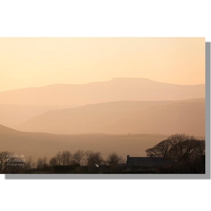 serene sunset over Ingleborough from Winskill