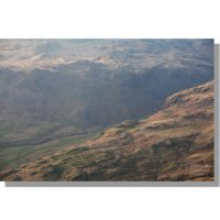 Hardknott Fort aerial view from Harter Fell Eskdale bathed in evening light
