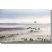 RAF fylingdales on a misty lockton high moor at dawn