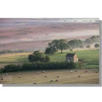 remote Glebe Farm on Saltergate Moor from Gallows Dike during misty dawn