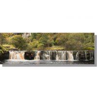 panoramic view of wain wath force waterfall surrounded by autumnal trees