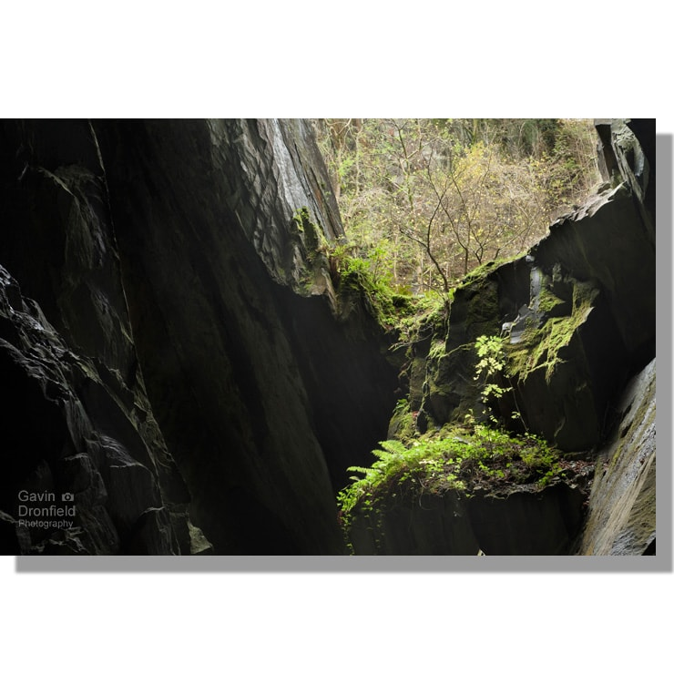 light streaming through cathedral cave slate quarry window