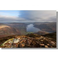 atmospheric view of ullswater from sheffield pike in late winter sun