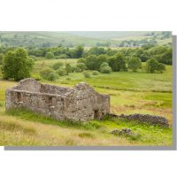 ruined dry stone barn in raydale summer meadows and distant hamlet of marsett