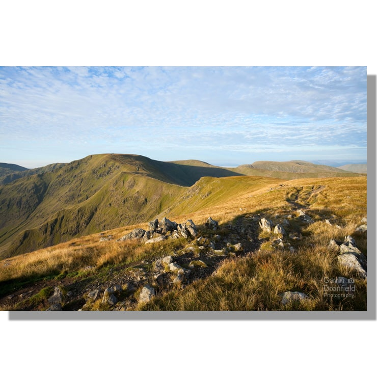 track from rampsgill head leading to high street ridge during clear summer dawn