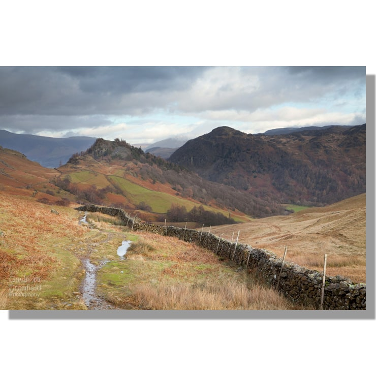 the jaws of borrowdale – castle crag and kings how – from allerdale ramble path on a cloudy winters day