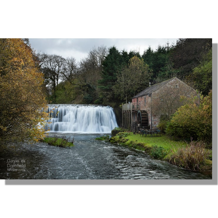 rutter force in hoff beck and old water mill holiday cottage surrounded by colourful autumnal trees under grey skies