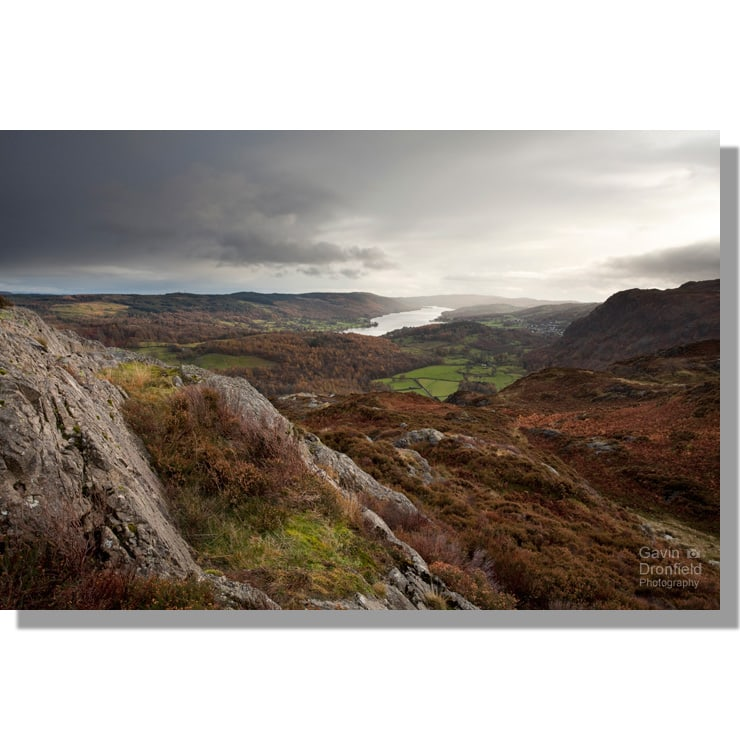 coniston water view from craggy south summit of holme fell under overcast sky