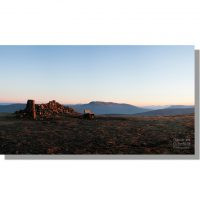 high seat summit seat red sunset panoramic view of bowscale fell, blencathra and scafell pike